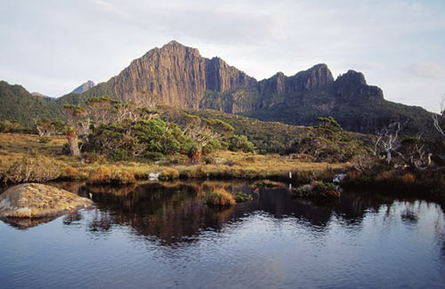 Mt Anne (left), Mt Lot (right), Lake Judd - Photo by Tourism Tasmania and Geoff Murray